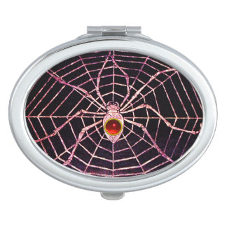 SPIDER AND WEB Red Ruby Black Compact Mirrors