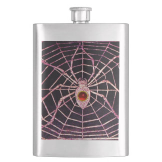 SPIDER AND WEB Red Ruby Black Flask