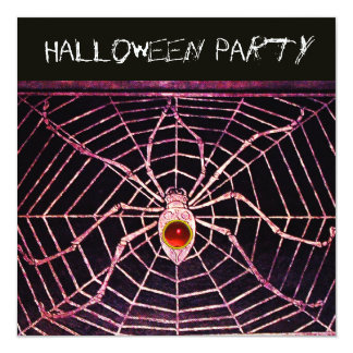 SPIDER AND WEB RED RUBY BLACK HALLOWEEN PARTY CARD