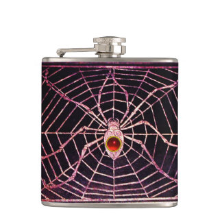 SPIDER AND WEB Red Ruby Black Hip Flasks