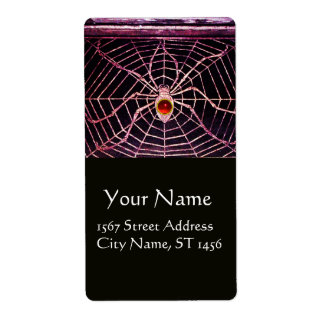 SPIDER AND WEB Red Ruby Black Personalized Shipping Labels