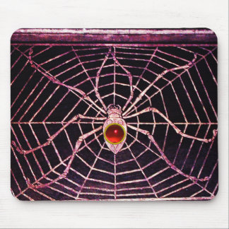 SPIDER AND WEB Red Ruby Black Mouse Pad