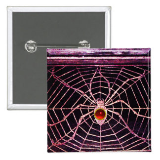 SPIDER AND WEB RED RUBY Black Pinback Button
