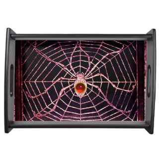 SPIDER AND WEB Red Ruby Black Serving Platter
