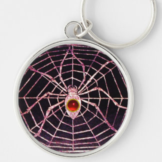 SPIDER AND WEB Red Ruby Black Silver-Colored Round Keychain