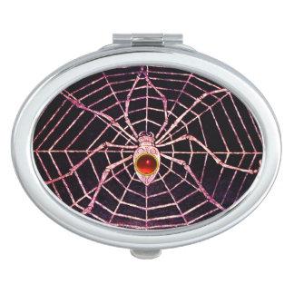 SPIDER AND WEB Red Ruby Black Vanity Mirror