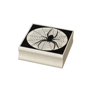 Spider and web silhouette art stamp