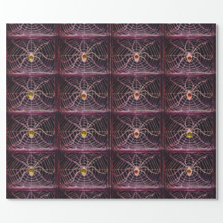 SPIDER AND WEB WITH GEMSTONES Halloween Wrapping Paper