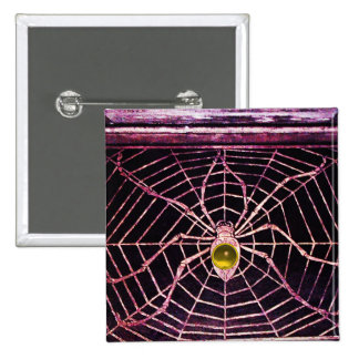 SPIDER AND WEB Yellow Topaz Black Button