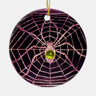 SPIDER AND WEB Yellow Topaz Black Christmas Tree Ornaments