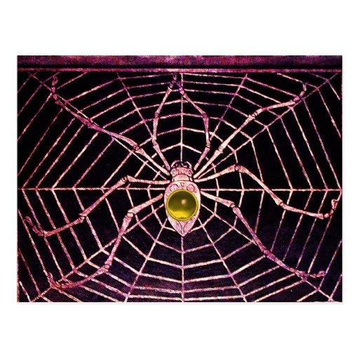 SPIDER AND WEB Yellow Topaz Black Postcard