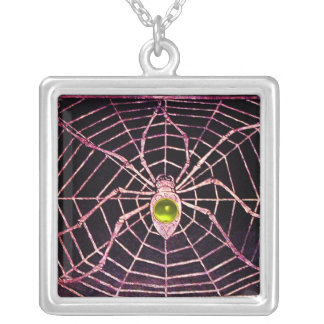 SPIDER AND WEB Yellow Topaz Black Silver Plated Necklace