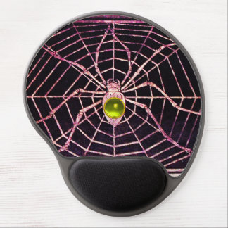 SPIDER AND WEB Yellow Topaz Gemstone, Black Gel Mouse Pad
