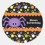 Spider Birthday Halloween Classic Round Sticker