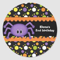 Spider Birthday Halloween Classic Round Sticker
