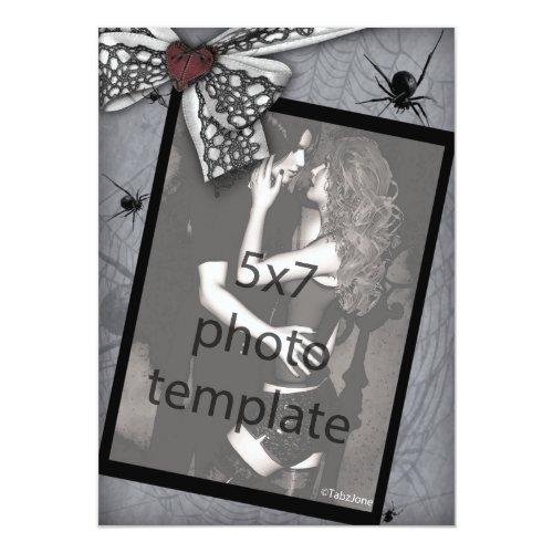 Spider Bow Photo Frame Goth Wedding Invitations