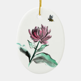 Spider Chrysanthemum and Bee - Fall in the Garden Ceramic Ornament