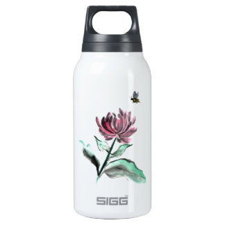 Spider Chrysanthemum and Bee - Fall in the Garden Insulated Water Bottle