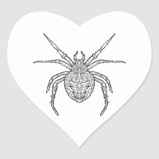 Spider - Complicated Coloring Heart Sticker