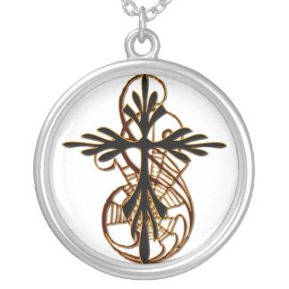 Spider Cross Round Pendant Necklace