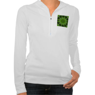 Spider Dance, Abstract Green Gray Web Hooded Pullover