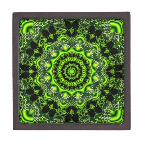 Spider Dance, Abstract Green Gray Web Keepsake Box