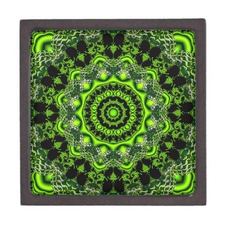 Spider Dance, Abstract Green Gray Web Keepsake Box