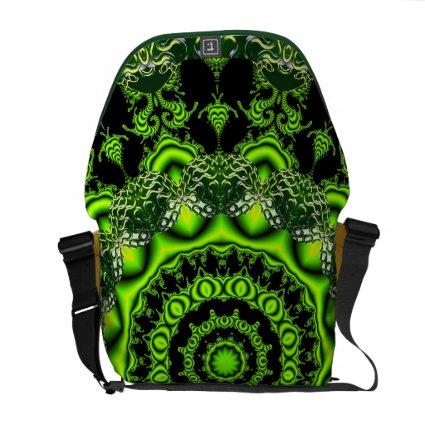 Spider Dance, Abstract Green Gray Web Messenger Bag