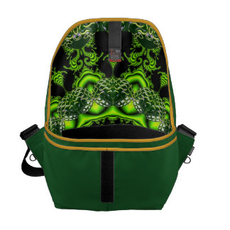 Spider Dance, Abstract Green Gray Web Courier Bags