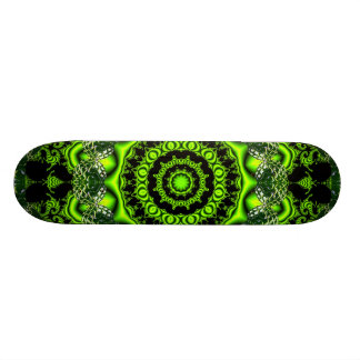Spider Dance, Abstract Green Gray Web Skateboard