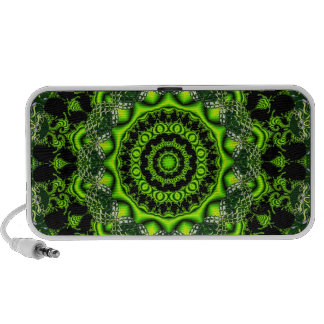 Spider Dance, Abstract Green Gray Web Laptop Speakers