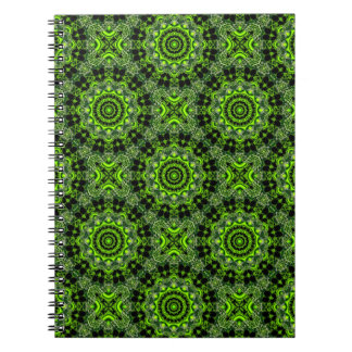 Spider Dance, Abstract Green Gray Web Spiral Notebooks
