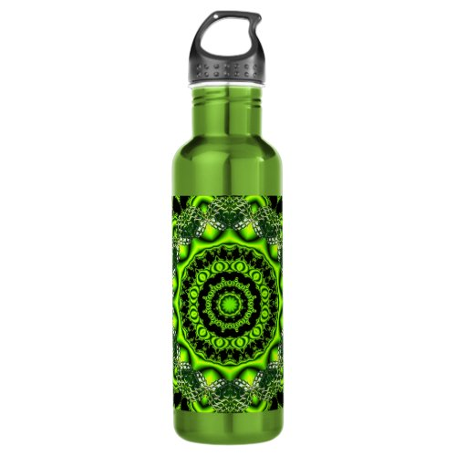Spider Dance, Abstract Green Gray Web Stainless Steel Water Bottle