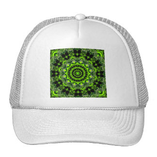 Spider Dance, Abstract Green Gray Web Trucker Hats