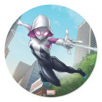 Spider-Gwen Web Slinging Through City Classic Round Sticker