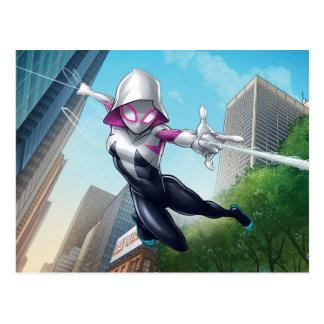 Spider-Gwen Web Slinging Through City Postcard
