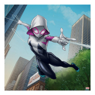 Spider-Gwen Web Slinging Through City Poster