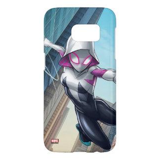 Spider-Gwen Web Slinging Through City Samsung Galaxy S7 Case