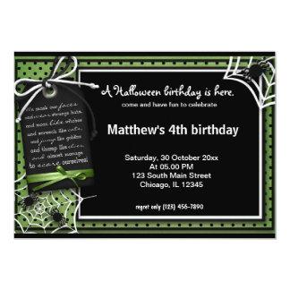 "Spider Halloween Birthday 5"" X 7"" Invitation Card"