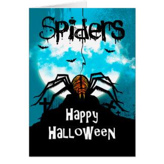 Spider Halloween Design, webs, graves, bats Card