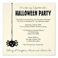 Spider Halloween Party Invite on Cream - Square