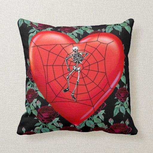 Spider Heart Throw Pillow