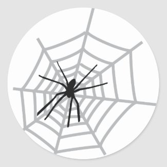 spider in cobweb sticker