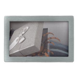 Spider in gift box rectangular belt buckle