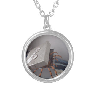 Spider in gift box silver plated necklace