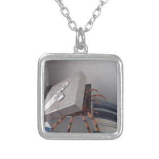 Spider in gift box square pendant necklace