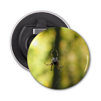 Spider in the Woods Button Bottle Opener