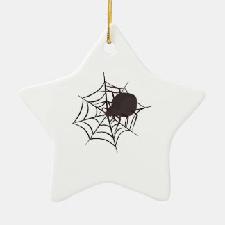 Spider In Web Double-Sided Star Ceramic Christmas Ornament