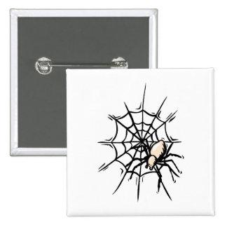 Spider in web halloween graphic button