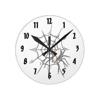 Spider in web halloween graphic round wall clock